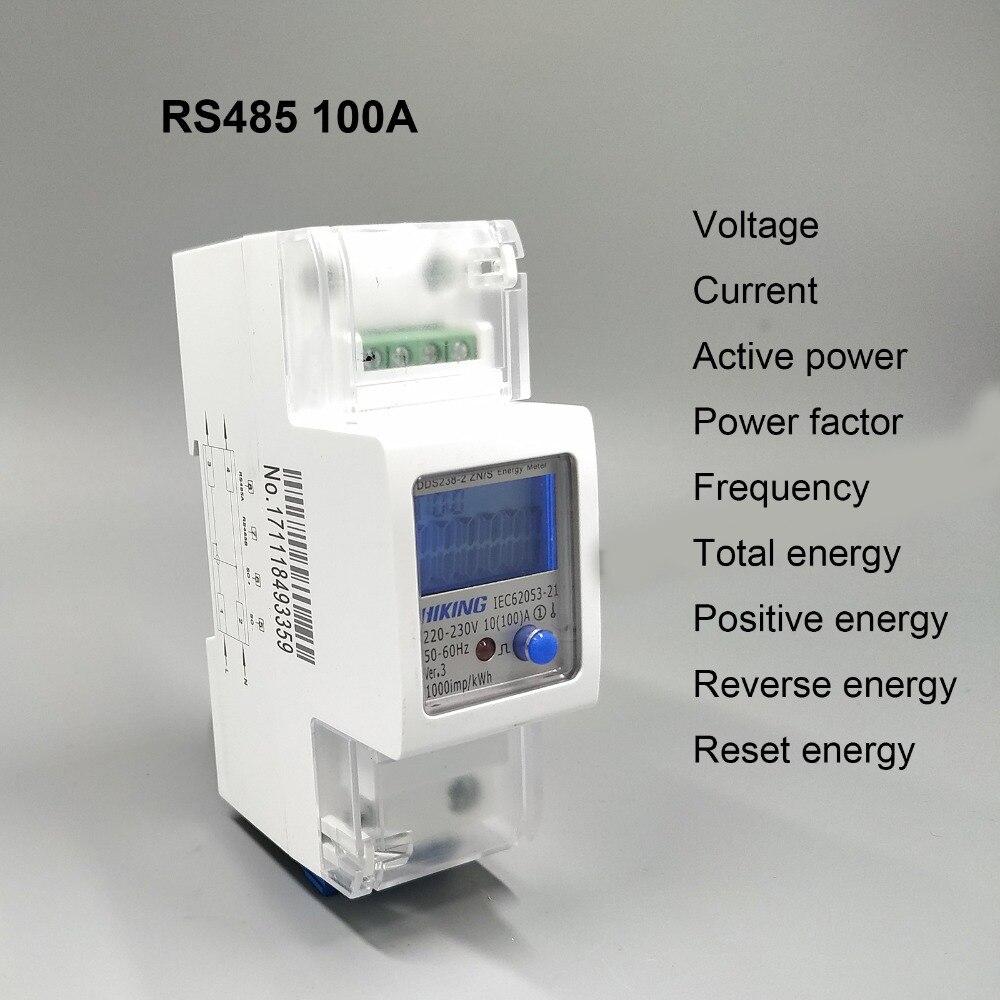 100A 220 V 230 V 50Hz 60Hz voltaje corriente DDS238-2 ZN/S monofásico Din rail KWH vatios hora medidor de energía con RS485 MODBUS-RUT