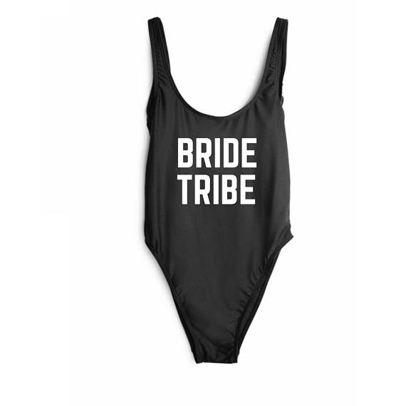 53a672f666a38 Bride Tribe Swimsuit Classic California Women Monokini Swimwear One-Piece  Swimsuit Letter Printing High Cut