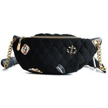 Ins Super Hot bag female 2019 New Tide Diamond Badge chest 100-lap small satchel Fashion waist bag#0038