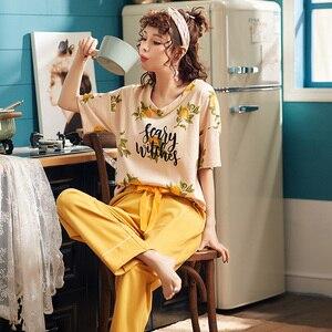 Image 5 - BZEL Conjunto de pijamas nuevos con letras estampadas para mujer, Camisón con estampado de letras, pantalones rosas, para dormir