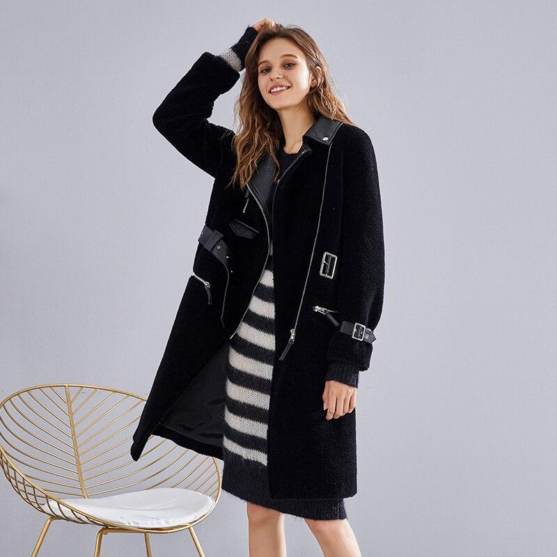Vêtements Black Moutons Femmes D'hiver Long Élégant Peau Fourrure 2018 Zt558 Laine Veste Manteau Abrigo Mujer Réel Coréen Slim En De Mouton CdoexBr