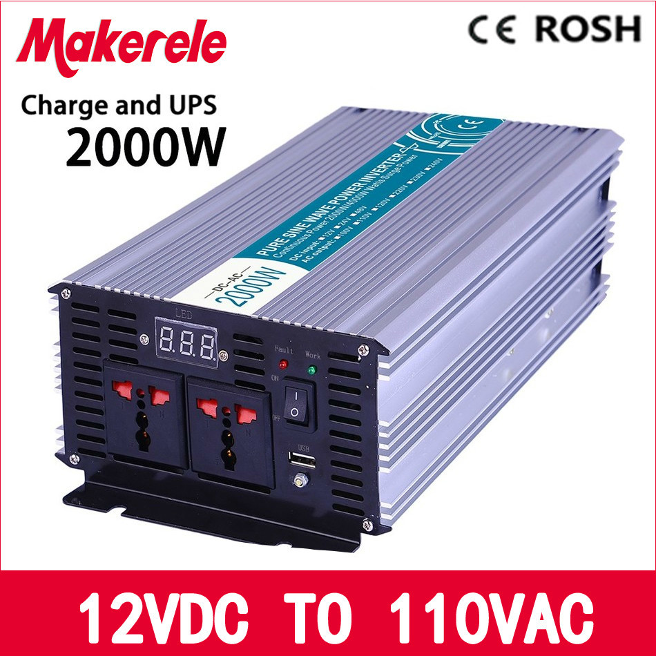MKP2000-121-C off grid pure sine wave 2000w ups inverter 12vdc to 110vac solar inverter voltage converter with charger and UPS p800 481 c pure sine wave 800w soiar iverter off grid ied dispiay iverter dc48v to 110vac with charge and ups