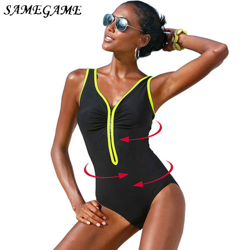 SAMEGAME 2019 New One Piece Swimsuit Plus Size Swimwear Women Vintage Bathing Suits Summer Beach Wear