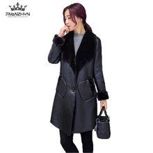 Tnlnzhyn в Корейском стиле новинка 2017 года Зима Для женщин кожаная куртка Модные средней длины высокого класса PU кожаные пальто большие размеры Для женщин пальто SK20