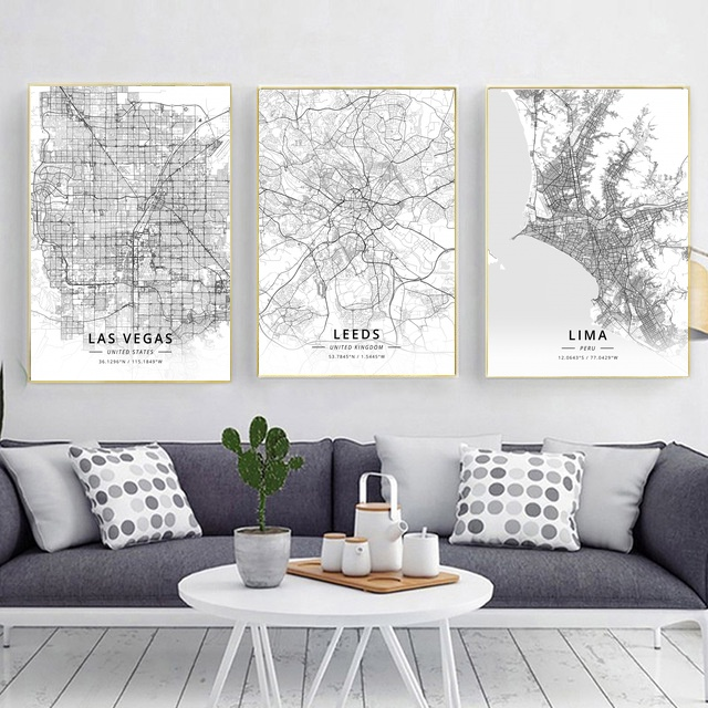 Modern Famous World City Map Istanbul Las Vegas Leeds Lima City Poster  Nordic Living Room Wall Art Picture Home Canvas Painting In Painting U0026  Calligraphy ...