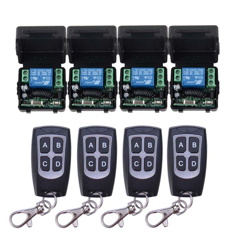 12V 1CH Wireless Remote Control Switch System 4 Transmitter & 4 Receiver 10A Relay Smart House цена