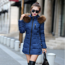 Women Winter jacket Warm Long Down Parkas 2017 New Female Slim Down Cotton Jacket Hooded Faux Fur Collar Ladies Thick Coat 495