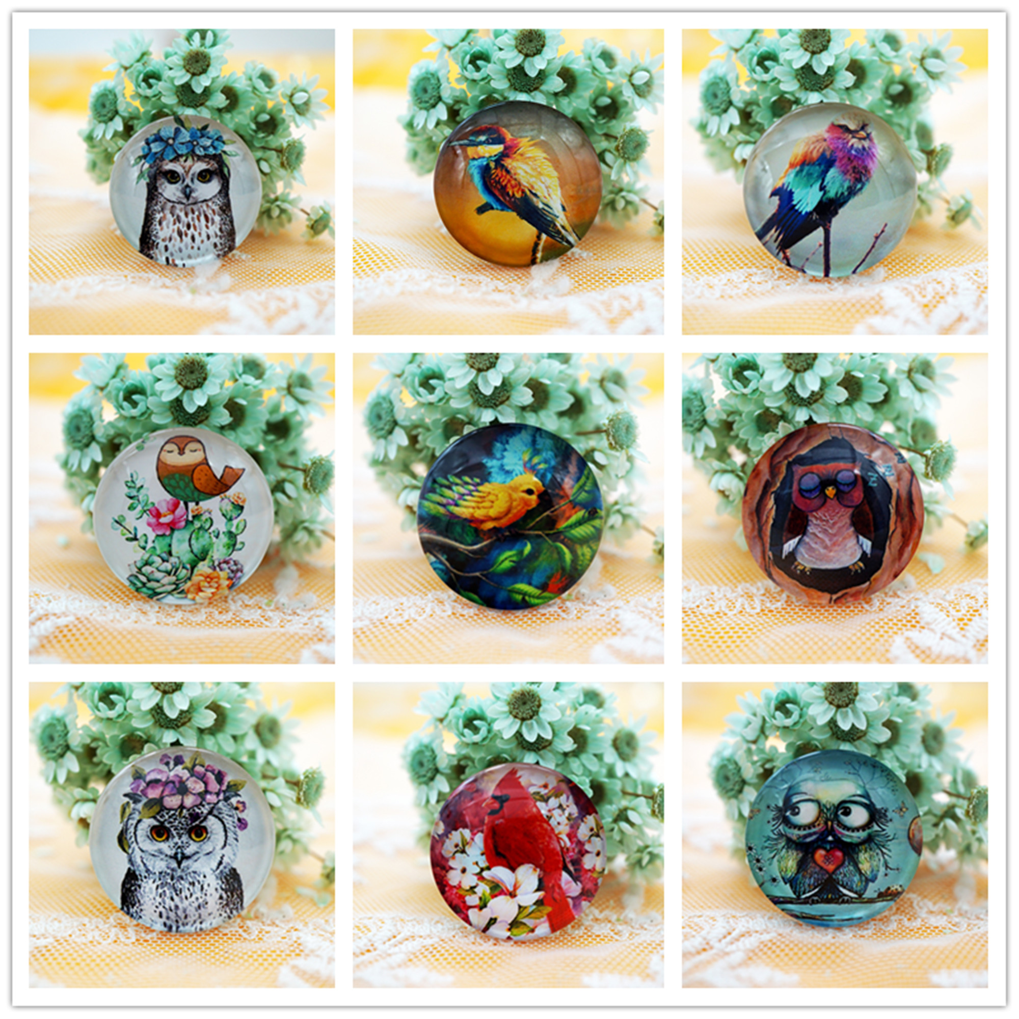 10PCS/lot Round 18MM Mixed Glass Cabochon for charms key chain Jewelry Supply earring dangle earring for necklace pins