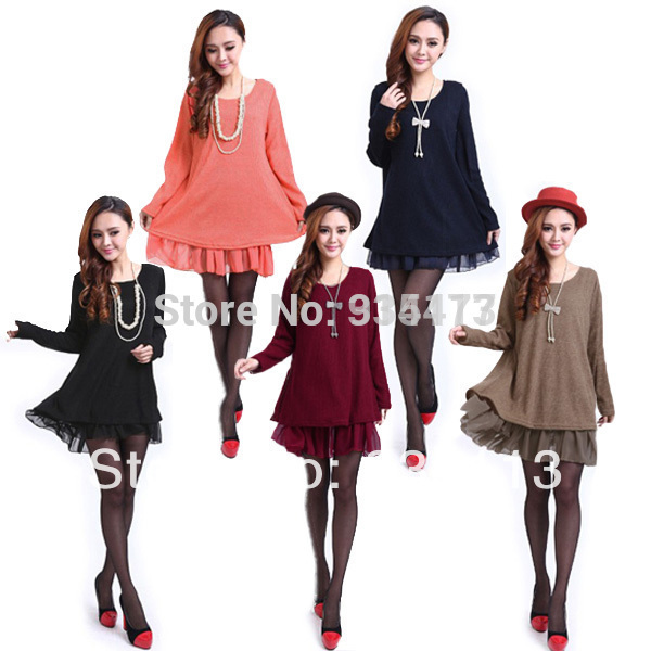 1pc women New fashion 2015 winter Autumn Ladies Chiffon O Neck Long Sleeve Knit Tunic sweater Dress pullovers plus size - owen 914477 Store store