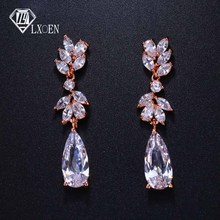 LXOEN Luxury Long Flower Wedding Drop Earrings for WomeN with Silver G