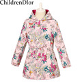 2015 New Girls Coat Fashion Hooded Jacket with Digital Floral Print Double-side Wear Children Trench Windbreaker Kids Outerwear