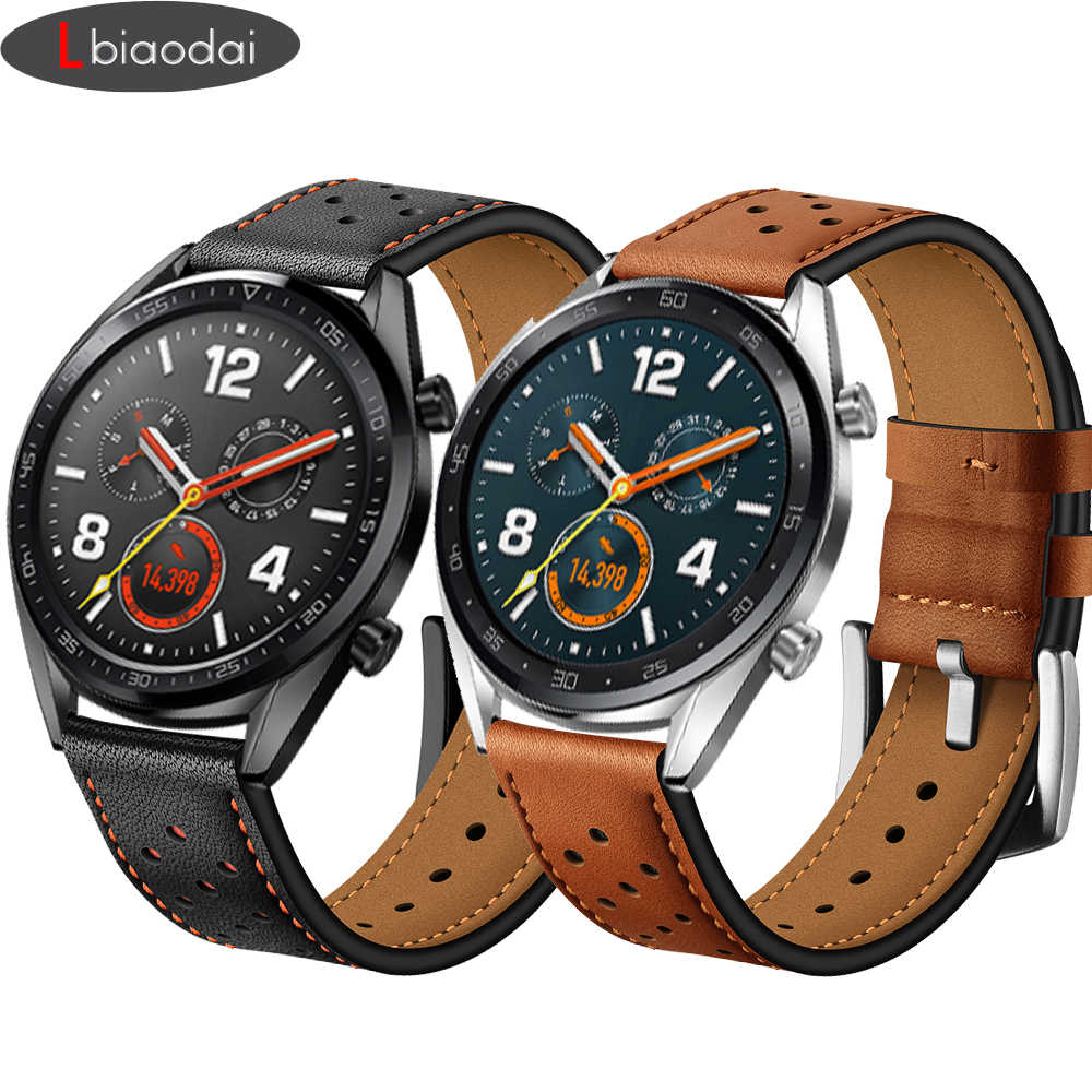 Galaxy Menonton 46 Mm Correa untuk Gear S3 Strap Watch Amazfit Bip Huawei Watch GT Tali 22 Mm Watch Band kulit Asli Gelang Sabuk