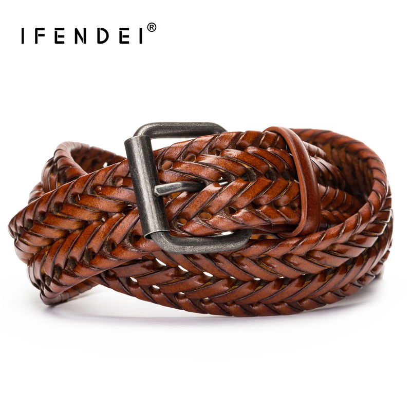 IFENDEI Split Leather Black Waist   Belts   Men Casual Hand-woven Braided Leather   Belt   For Man's Retro Pin Buckle Strap For Jeans