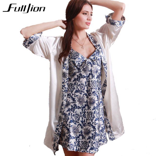 Fulljion Women Robe Gown Set 2pcs night dress+night robe Faux Silk ...