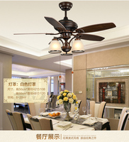 Вентилятор люстра вентилятор свет ресторан гостиная листья Европейский Винтаж светодиодный вентилятор люстра вентилятор огни 48 дюймов