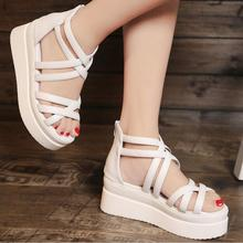 white/black Students in the summer of 2017 platform sandals women flat thick bottom Bohemia contracted white comfortable shoes