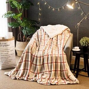 Image 4 - Manta de lana de invierno, manta de Cachemira Hurón, mantas cálidas de lana a cuadros, muy cálidas, suave, para sofá y cama