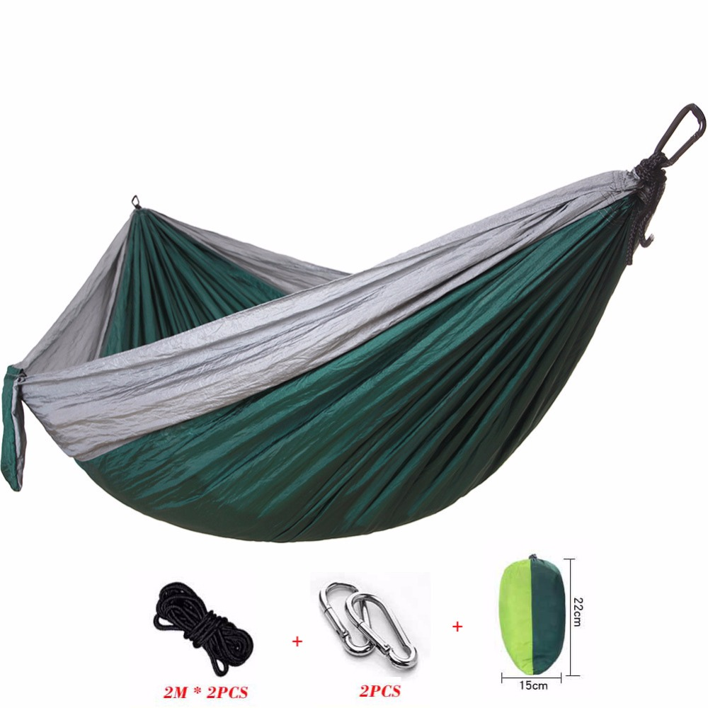Portable Nylon Parachute Hammock Camping Survival Garden Hunting Leisure Travel Double Person 300 200cm 2 people hammock 2018 camping survival garden hunting leisure travel double person portable parachute hammocks