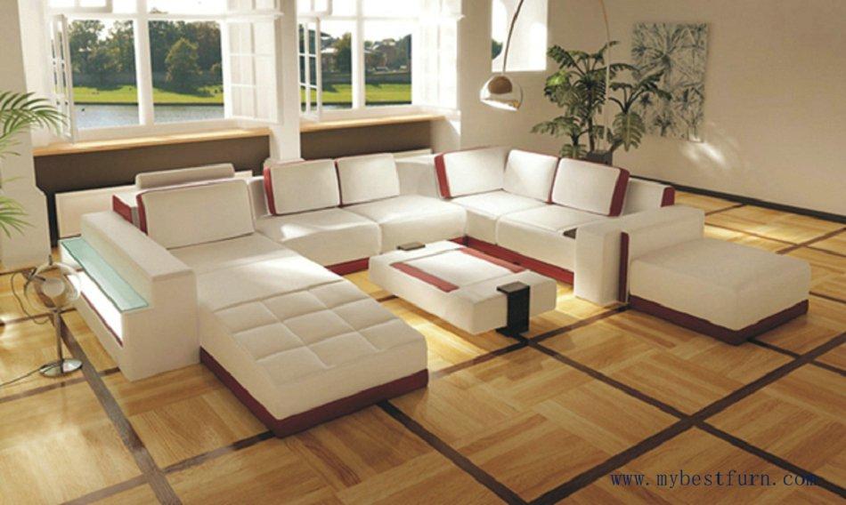 Free Shipping Luxury Design Sofa Genuine Leather U Shaped Villa Set Include Table S8588