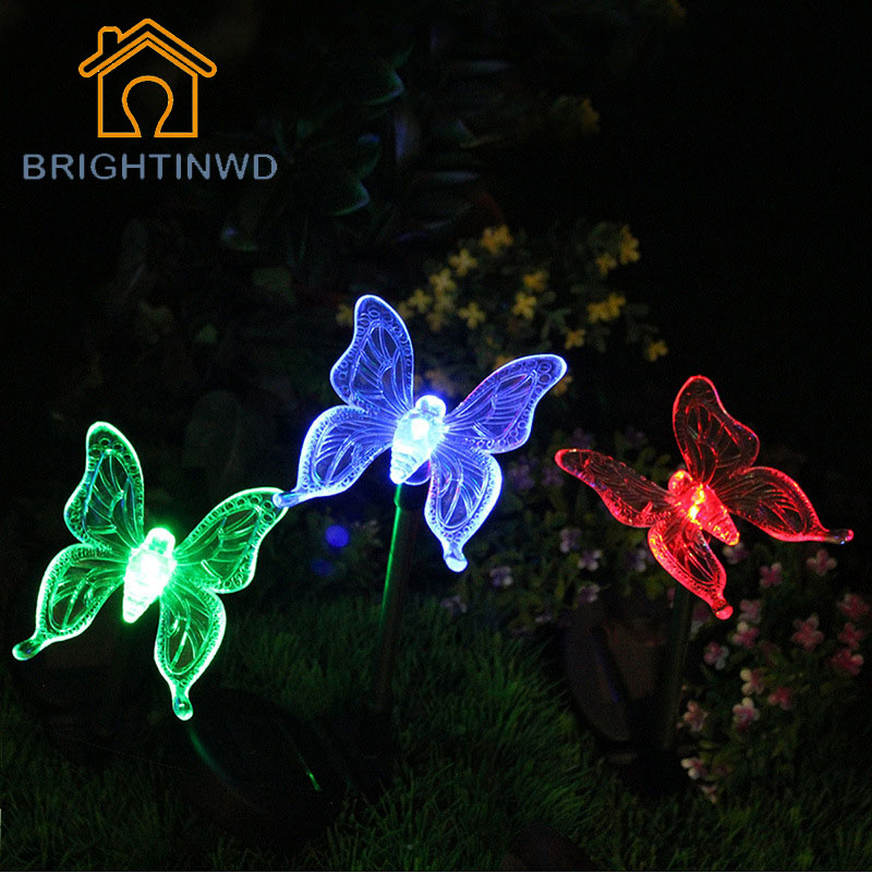 2pcs LED Solar Light Outdoor Dragonfly/Butterfly/Bird Type Solar Lamp  Plastic Outdoor LED
