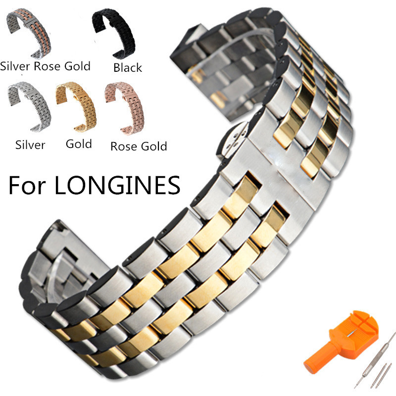 16mm 18mm 19mm 20mm 21mm 22mm Stainless Steel Watchband Watch Strap Bracelet For LONGINESWatch With Logo 14mm 16mm 17mm 18mm 19mm 20mm 21mm 22mm 23mm 24mm silver black full stainless steel watch strap wacthband for rarone with logo