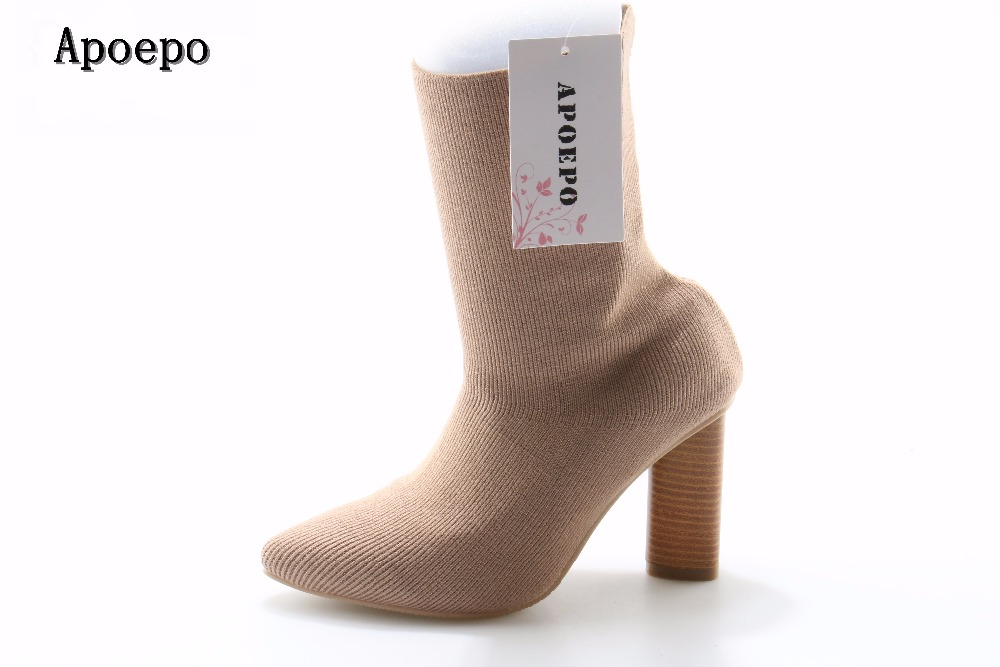 Hot selling stretch fabric thick heels ankle boots for woman fashion sexy pointed toe short boots 2017 high heel boots beige