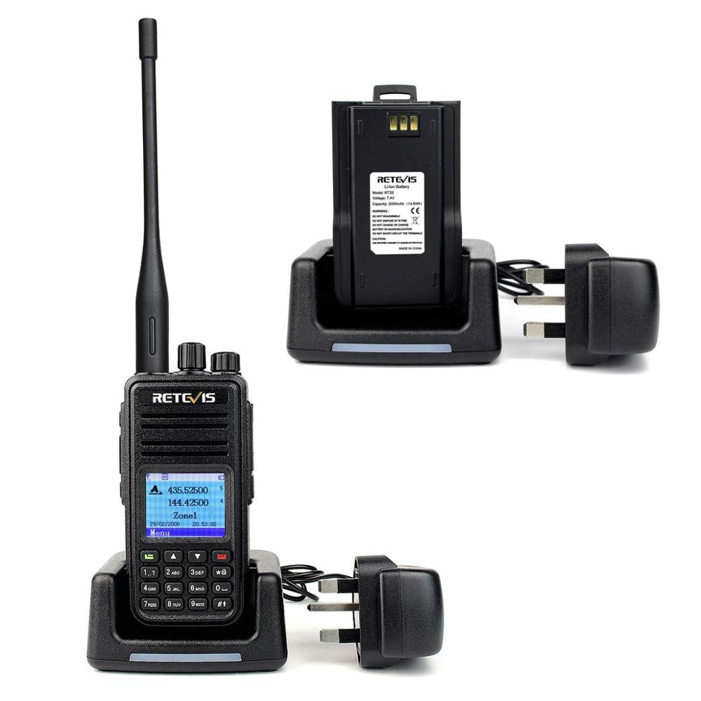 band digital Retevis RT3S Dual Band DMR Radio Digital Walkie Talkie GPS DCDM TDMA Ham Radio Station Hf Transceiver + Accessories (5)