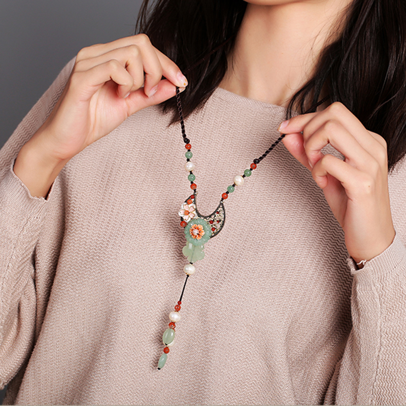 Mode fait à la main Long chandail collier femmes Style chinois Tribal bijoux cadeau folk-personnalisé Collares Largos De Moda 2018