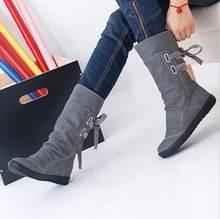 3b62b79c1f Mulheres Inverno Botas de Neve Mid-Calf Sólidos Cunhas Senhoras Mulher Bota  de Couro Altura Crescente Sapatos Casuais Quente Bot.