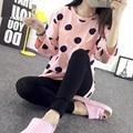 Мода 2016 Новый Осень Зима Китайский Стиль Женщины Сна Свободный Размер Пижамы Наборы для Женщин Письмо Мультфильм Розовый Пижамы Девушка Пижамы