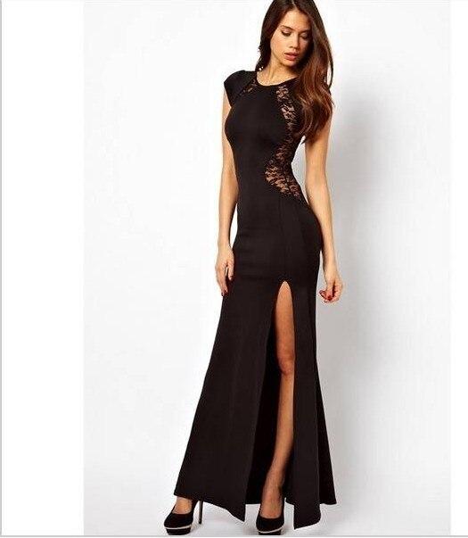 d65c1818e7 Primavera vestido lleno de la moda Delgado placketing atractivo del recorte  detrás del Encaje una sola pieza vestido formal negro rojo s-xl XXL en venta