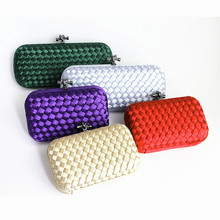 2017 brand fashion vintage satin elegant banquet wallet hard hasp woman evening bag knitted rope casual female small cute Clutch