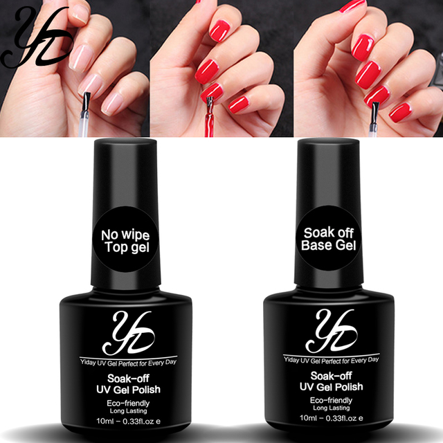 2pcs/Lot 10ml No Wipe Top Coat + Base UV Gel Nail Art Polish Faster Dried Long Lasting Foundation Nails Color Clear High Quality