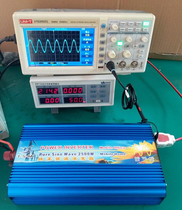 Puissance de pointe 5000w onduleur puissance nominale 2500W DC12V/24 V/36 V/48 V à AC110V/220 V pur onduleur à onde sinusoïdale affichage numérique