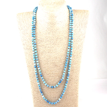 Drop Shipping Fashion Bohemian Tribal Jewelry 6mm Semi Precious Stones Weathered 150cm Long Knotted Necklace