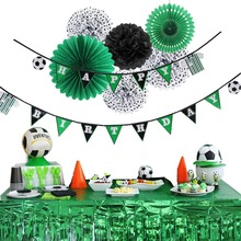 Birthday Party Decorations 7pcs/set Green Soccer Football Theme Foil Curtains Happy Banner For Supplies