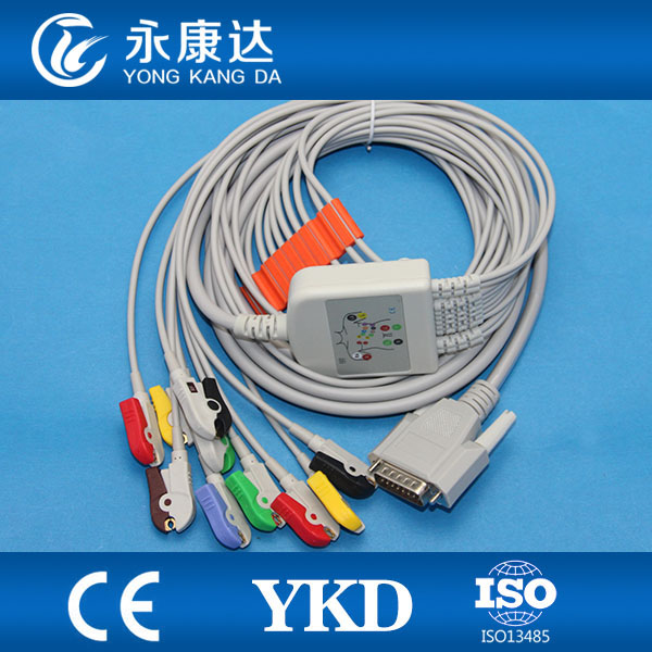 Câble EKG Nihon Kohden 10 fils, compatible avec la machine Cardiofac 6353 ekg, IEC, Grabber