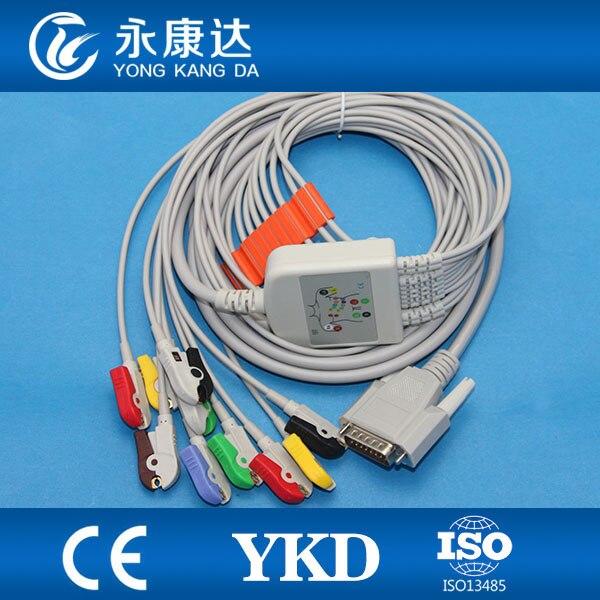 Nihon Kohden 10 lead EKG cable, compatible with Cardiofac 6353 ekg machine,IEC,Grabber