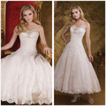 2016 New Sweetheart Mermaid Lace Wedding Dresses Short Ankle Length Ball Gown Bridal Dresses