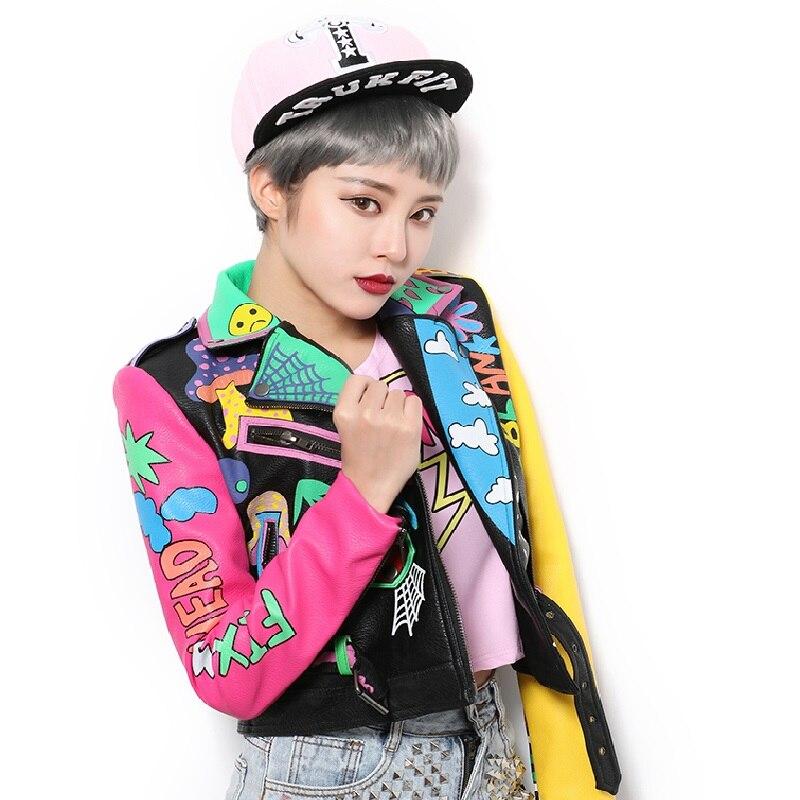 2019 Faux cuir vestes femmes Top tout nouveau printemps mode bonne qualité Rivets léopard dames rue femmes PU cuir veste - 3