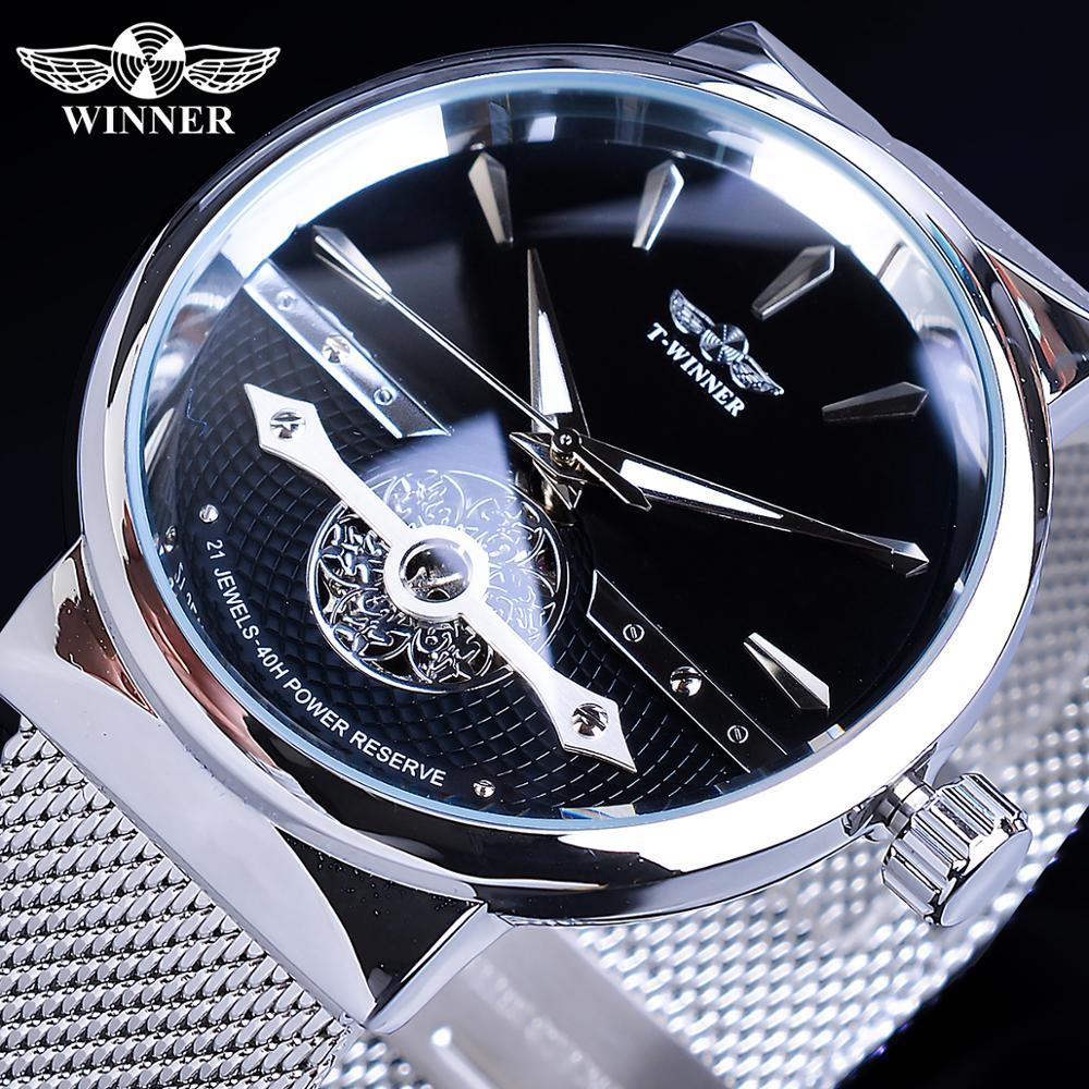 Winner Men Fashion Mechanical Watch Business Slim Hollow Black Automatic Movt Waterproof Steel Mesh Band Clock Relogio Masculino