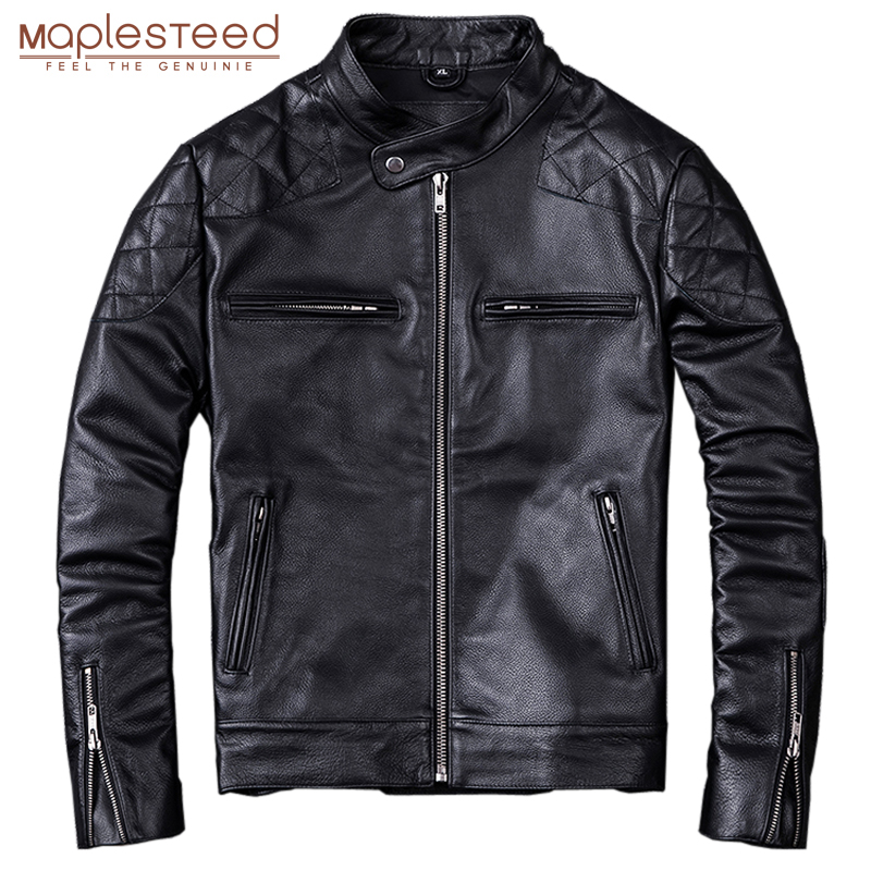 MAPLESTEED 100% Natural Calf Skin Leather Jacket For Men Motorcycle Jackets Moto Biker Clothing Man Leather Coat Winter 5XL M011