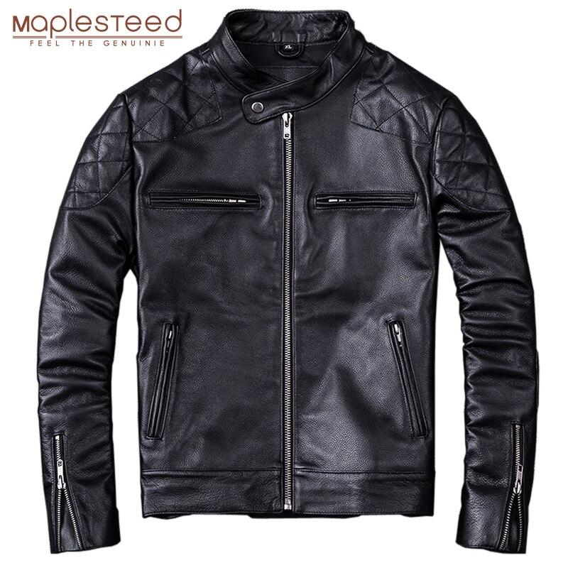 Maplesteed 100% natural bezerro pele jaqueta de couro para homens motocicleta jaquetas moto motociclista roupas homem casaco de couro inverno 5xl m011