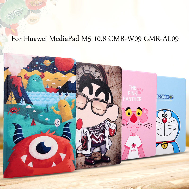 Fashion painted Pu leather stand holder Cover Case For Huawei MediaPad M5 10.8 / 10 Pro CMR-AL09 CMR-W09 10.8 inch Tablet + Gift 360 rotating case for huawei mediapad m5 10 8 folding stand pu leather case flip cover for huawei m5 pro 10 8 inch tablet fundas