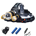 2016 Zoomable Headlamp Head Torch Flashlight CREE XML T6 Rechargeable Led Headlight Outdoor for Camping +2*18650 Battery+Charger