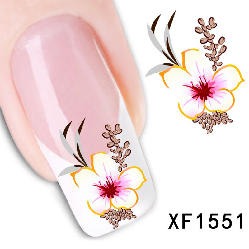 1sheet Hot Designs Beauty Flower Stamping Stencils Decorations Nail Art Water Transfer Stickers Decals Tips Nails LAXF1551