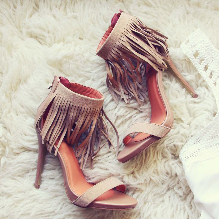 Hot selling stylish fringe ankle wrap back zipper stiletto heel sandals elegant cross strap beige suede tassel sandals high heel