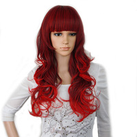 Princess Ariel Curly Wave Wine Red Cosplay Wig CC66B Free Shipping A Wig Cap