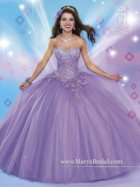 35bca8b6868 Sweet 16 Dress 2017 purple Shimmering tulle quinceanera ball gown with  strapless sweetheart neckline beaded appliqued bodice