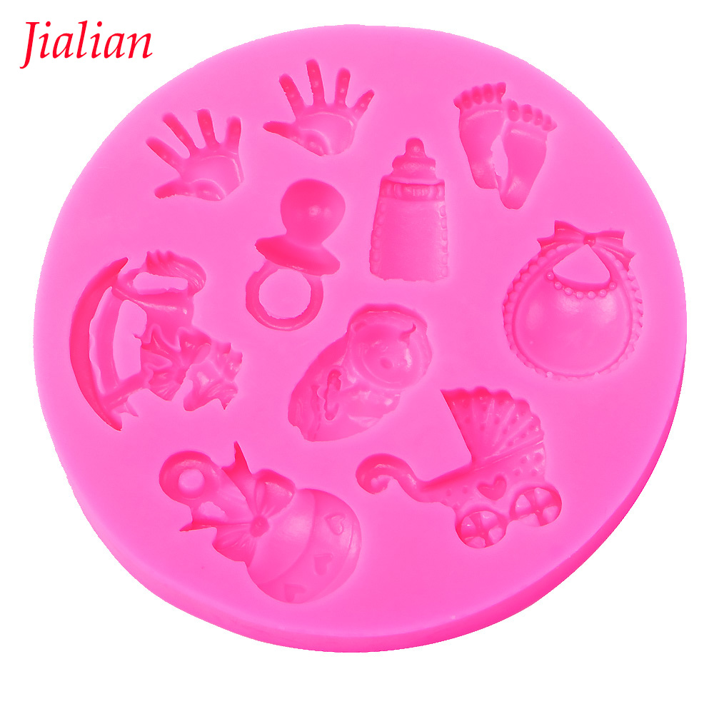 Baby Shower Party stroller  hand bottle Trojan Shape 3D fondant cake silicone mold kitchen candy cupcake decoration tools F0300